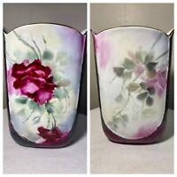 Vtg Victoria Porcelain Wide Vase Hand Painted Marked NB Purple Rose