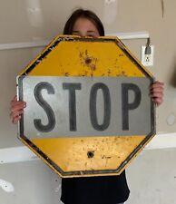 Vintage Yellow Stop Sign Embossed Nebraska