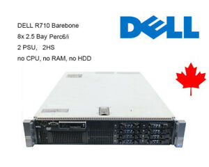 "Dell R710 Barebone  8*2.5"" Bays Perc 6/i 2x PSU 2x 870W No CPU No RAM No HDD"