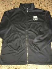 USA Olympic Committee Black Warm Up Jacket Zip Front Made in USA Men's Large