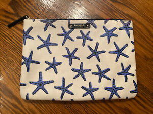 Kate Spade Clutch Makeup Handbag Blue Starfish