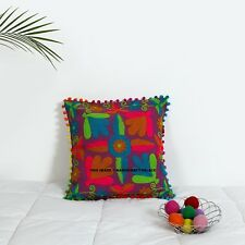 """16"""" Vintage Pillow Covers Suzani Embroidered Floral Cushions Cotton Pillow Cases"""