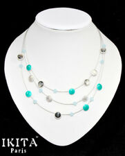 Luxury Statement Necklace IKITA Paris Enamel Silver Plated Pearls Turquoise