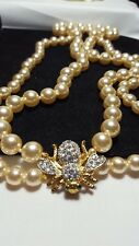 Estate Gold Joan Rivers Crystal Bee Double Strand Pearl Necklace with Box
