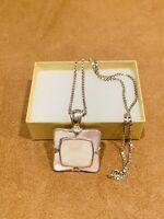 Large Mother Of Pearl 925 Sterling Silver Pendant And Chain