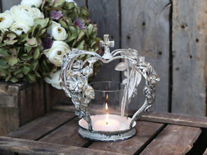 French Style Antique Cream Distressed Crown With Roses Hurricane Candle Holder