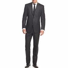 Marc New York Men's Charcoal Chalk Stripe 40R/33W Flannel Trim Fit Suit