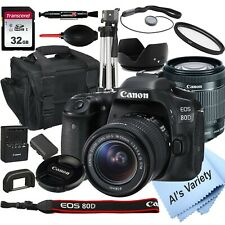 Canon EOS 80D DSLR Camera with 18-55mm STM Lens+32GB Card, (18PC BUNDLE)