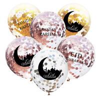 "10X 12"" Eid Mubarak Confetti Letter Moon Latex Balloon Ramadan Party Decor LO"