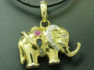 8kt 333 Yellow Gold Elephant Pendant with Diamond, Ruby, Emerald & Sapphire Trim