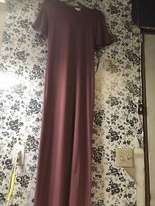 Lularoe XS XSMALL Maria Long Dress Solid Dark Dusty Pink