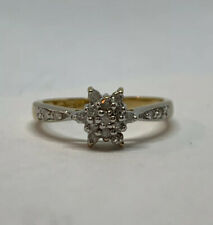 10K Yellow Gold Clear Cubic Zirconia Snowflake Ring Size 7