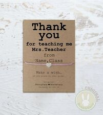 Personalised Thank you Teacher Wish Bracelet Teaching Card Tutor assistant help