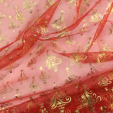 ALBERO di NATALE organdy / Organza Tessuto Rosso e Oro per METRO Largo 150cm