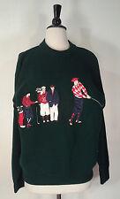 Vtg Izod Golf Sweater Crewneck Green Embroidered Rare Unique CottonMen's Size M