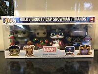 Funko POP! Marvel Happy Holidays 4 Pack Special Edition, Hulk, Groot Cap Snowman