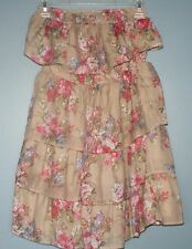 Body Central Strapless Short Dress Long Shirt Brown Floral Print Womens Size S