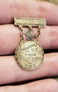 SCARCE 1893 9 KT GOLD POTTSTOWN PENNSYLVANIA PIGEON RACING SWEEPSTAKES MEDAL