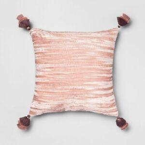 Crinkle Velvet Decorative Throw Pillow Pink - Opalhouse