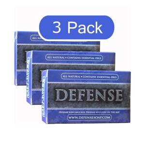 DEFENSE Soap Bar 4 oz - (3 PACK) -100% Natural & Herbal Grade Tea Tree Oil