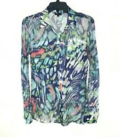 Komarov Top Small Blue Green Abstract Print Long Sleeve Crinkle Button Up Blouse