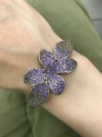 Turkish Handmade Sterling Silver 925 Amethyst Bangle Cuff Bracelet