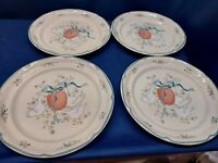 Vintage International Marmalade Blue Goose Set/4 Dinner Plates #8868 JAPAN