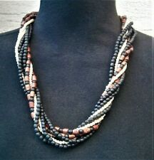 ATT820*) A lovely wood wooden and faux pearl bead multi strand necklace