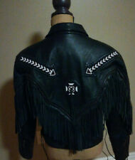 💯 Women's Leather Jacket Frontier Leather Size 10 Tassel Beads Motorcycle VTG