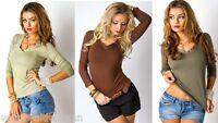 Top Donna Blusa T-Shirt Maglietta Maniche 3/4 MISSY 114-C059 Tg S/M M/L