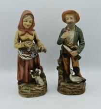 Pair Of Vintage #1417 Homco old man and woman porcelain figurines