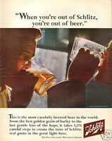 1966 Schlitz Beer LARGE Print Ad The Beer That Made Milwaukee Famous