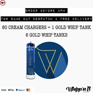 GOLD WHIP Cream Chargers Tanks Cylinders - 580g N2O - Charger SMARTWHIP FAST GAS