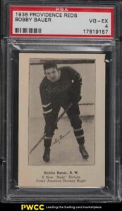 1936 Providence Reds Hockey Bobby Bauer ROOKIE RC PSA 4 VGEX