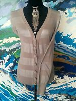 WITCHERY Cardigan - Knit Button Striped Long Sleeve Beige/Silver Metallic - S/10