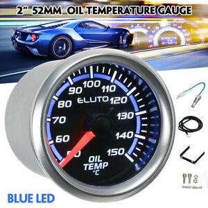 "52mm 2"" Oil Temp Gauge W/Sensor Universal LED Mechanical Dials Display"
