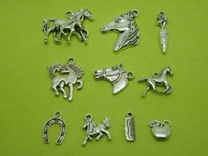 The Horse Charms Collection - 10 different antique silver tone charms