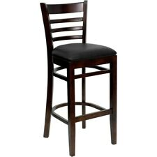 Flash Wood Restaurant Bar Stool, Black, Walnut - XU-DGW0005BARLAD-WAL-BLKV-GG