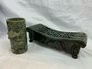 Vintage Hand Carved Green Marble Bowl Decorative Collectibles Bats  B814
