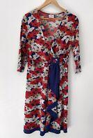 LEONA EDMISTON 3/4 Sleeve Floral Faux Wrap Dress Size 12