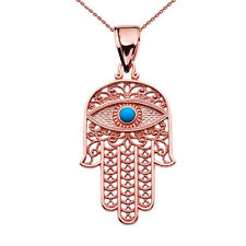 14k Rose Gold Evil Eye Turquoise Stone Filigree Hamsa Hand Pendant Necklace