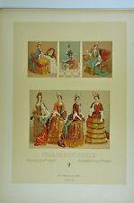 RCF353 Costumes  France XVII  féminins d'apparat manteau de cour falbalas gants