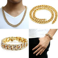 14mm Gold Filled Chain Necklace Iced-out Curb Cuban Link Rhinestones Bracelet