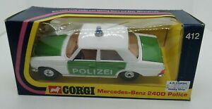 Corgi Mercedes-Benz 240D Police car #412 Made in G.B. 1975 w/original box