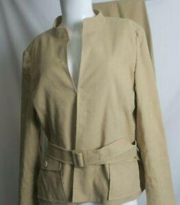 Talbot's Suit 2 Piece Linen Blend Beige Jacket size 12 Pants size 10 P