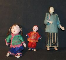 Antique Vntg China Composition 1920S Mama Baby Plus Basket Dolls Weaved