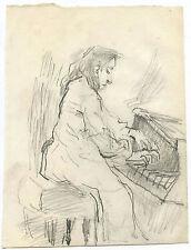 SAUL LISHINSKY (1922-2012) - WOMAN PLAYING PIANO & GRAPHITE ON PAPER DRAWING