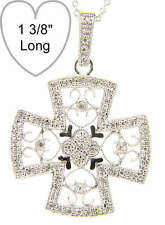 Diamond CELTIC CROSS 14k White Gold Pendant with chain