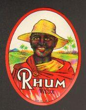 ETIQUETTE de RHUM / RHUM VIEUX / Portrait HOMME ANTILLAIS & PAYSAGE