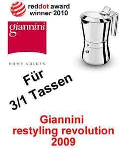Giannini,Espresskocher 3/1 Tassen Giannina,Herd Mokkakanne;Restyling,Ind, Kaffee